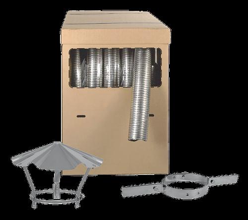 """Kit Flexible de tubage Apollo pellets """"Flex lisse 316"""" avec colliers de tubage et chapeau"""